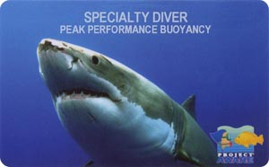 PADI Specialty Diver: Peak Performance Buoyancy лиц. сторона