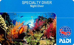 PADI Specialty Diver: Night Diver лиц. сторона