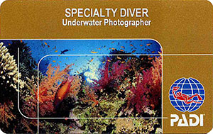 PADI Specialty Diver: Underwater Photographer лиц. сторона